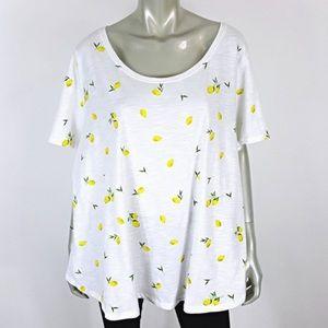 Lane Bryant lemon print cotton tee shirt